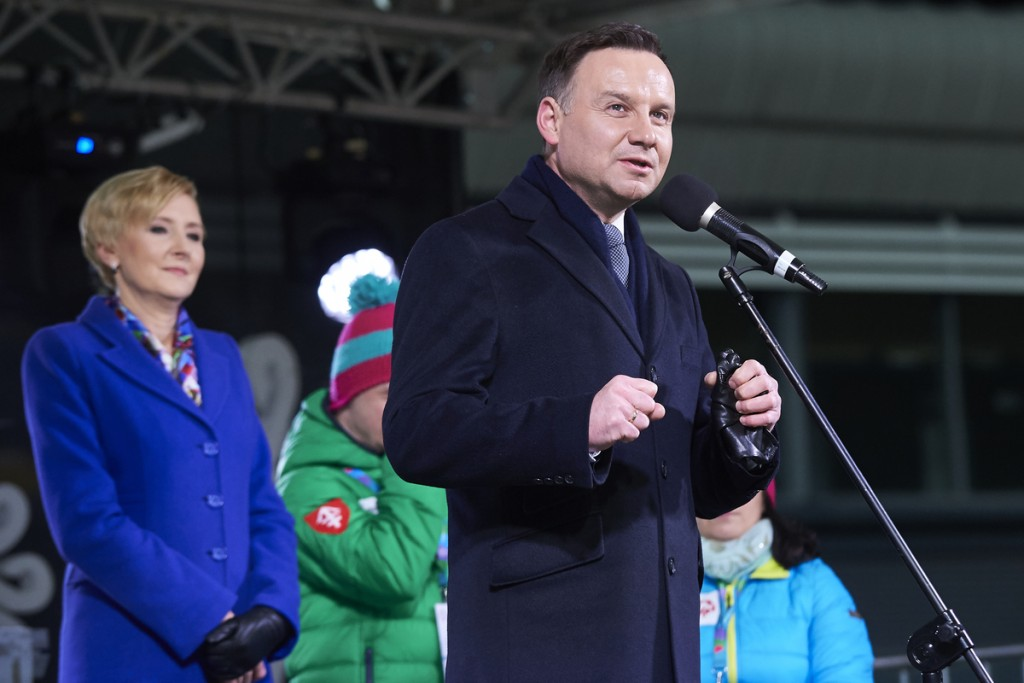 ZAKOPANE, POLAND - 2016 MARCH 09: Andrzej Duda President of Republic of Poland speaks during opening ceremony of the 9th National Special Olympics Winter Games on March 9, 2016 at Wielka Krokwia Hill in Zakopane, Poland. Picture also available in RAW (NEF) or TIFF format on special request. For editorial use only. Any commercial or promotional use requires permission. Adam Nurkiewicz declares that he has no rights to the image of people at the photographs of his authorship. Mandatory credit: Photo by ? Adam Nurkiewicz / Mediasport