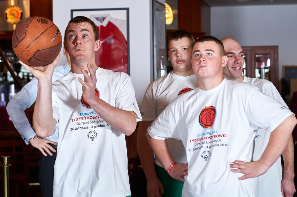 Warsaw, Poland - 2016 November 25: Special Olympics' basketball athletes throw while Special Olympics Basketball Press Conference at Marriott Champions Sport Bar on November 25, 2016 in Warsaw, Poland. Adam Nurkiewicz declares that he has no rights to the image of people at the photographs of his authorship. Picture also available in RAW (NEF) or TIFF format on special request. Any editorial, commercial or promotional use requires written permission from the author of image. Image can be used in the press when the method of use and the signature does not hurt people on the picture. Mandatory credit: Photo by ? Adam Nurkiewicz / Mediasport